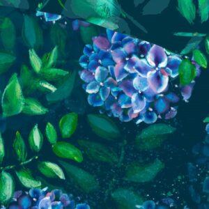 Voodipesukomplekt Võluaed (hortensiatega)